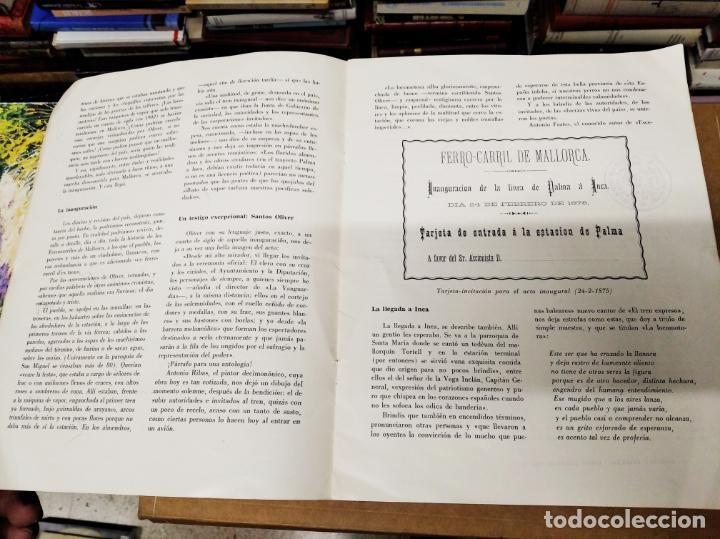 Carteles de Transportes: IMPRESIONANTE CARTEL DE FERROCARRILES DE MALLORCA. CENTENARIO 1875-1975. ENMARCADO. + PROGRAMA - Foto 8 - 130287282