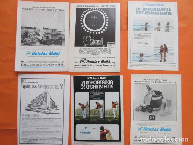 COLECCION 7 HOJAS PUBLICIDAD HOTELES MELIA AÑOS 60/70 - TAMAÑO 13 X 18.5 CM (Coleccionismo - Carteles Gran Formato - Carteles Transportes)