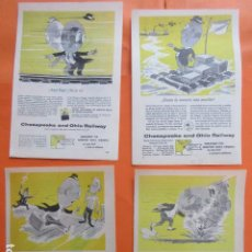 Carteles de Transportes: PUBLICIDAD 1955/56 - FERROCARRIL CHESAPEAKE AND OHIO RAILWAY 4 HOJAS - TAMAÑO 13 X 18.5 CM. Lote 207815747