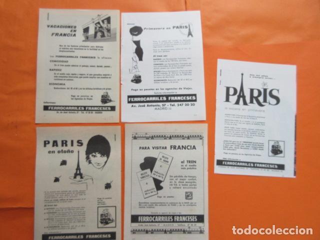 PUBLICIDAD AÑO 50/60 - FERROCARRIL COLECCION FRANCIA SNCF 5 HOJAS - TAMAÑO 13 X 18.5 CM (Coleccionismo - Carteles Gran Formato - Carteles Transportes)