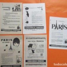 Carteles de Transportes: PUBLICIDAD AÑO 50/60 - FERROCARRIL COLECCION FRANCIA SNCF 5 HOJAS - TAMAÑO 13 X 18.5 CM. Lote 207816216