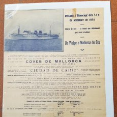 Affissi di Trasporti: CARTEL POSTER VIAJE A MALLORCA TRANSATLANTICO CIUDAD DE CADIZ TRANSMEDITERRANEA 1934 70 X 49 CM. Lote 217278475