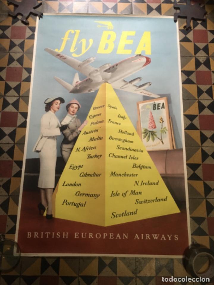 (M) AVIACION - ANTIGUO CÀRTEL FLY BEA - BRITISH EUROPEAN AIRWAYS -DISCOVERY GLASS VOSCOUNT RMA DISCO (Coleccionismo - Carteles Gran Formato - Carteles Transportes)