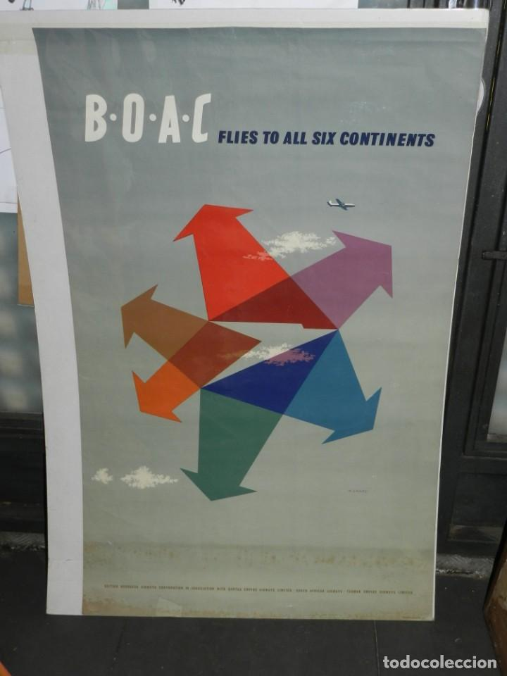 Carteles de Transportes: (M) CARTEL ORIGINAL LINEAS AERIAS - BOAC FLIES TO ALL SIX CONTINENTS, ILUSTRADO A GAMES 1954 - Foto 1 - 219518706