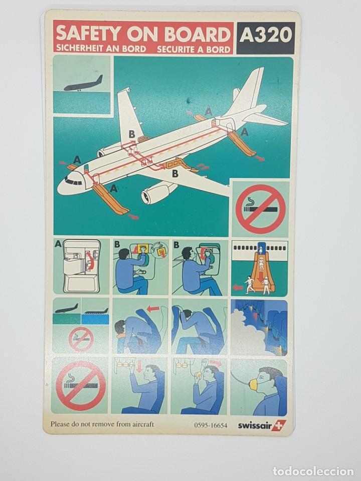 AIRBUS A320 SWISSAIR INSTRUCCIONES SEGURIDAD (Coleccionismo - Carteles Gran Formato - Carteles Transportes)