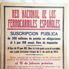 Carteles de Transportes: FERROCARRILES ESPAÑOLES. SUSCRIPCIÓN PÚBLICA 1949 . RENFE. CARTEL 64 X 44 CM. 2 TINTAS.. Lote 234646780