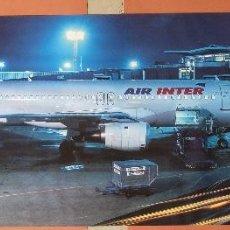 Carteles de Transportes: GRAN POSTER AEROLÍNEA FRANCESA AIR INTER. AEROPUERTO DE NOCHE. AFFICHE - AVIACIÓN. Lote 237084350