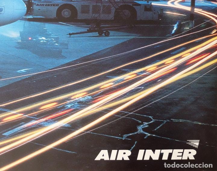 Carteles de Transportes: GRAN POSTER AEROLÍNEA FRANCESA AIR INTER. AEROPUERTO DE NOCHE. AFFICHE - AVIACIÓN - Foto 2 - 237084350
