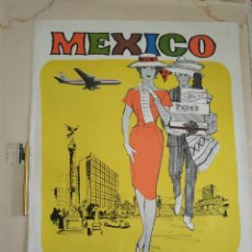 Carteles de Transportes: CARTEL MEXICO FLY VIA AERONAVES DE MEXICO. Lote 242123720