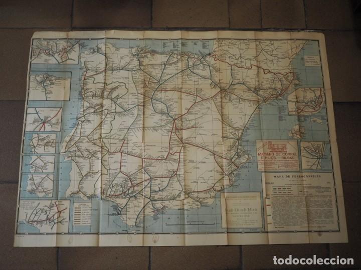 CARTEL MAPA DE FERROCARRILES MARIANO DE CORRAL E HIJOS BILBAO. JUAN GIRALT MIRÓ BARCELONA. 1923 (Coleccionismo - Carteles Gran Formato - Carteles Transportes)
