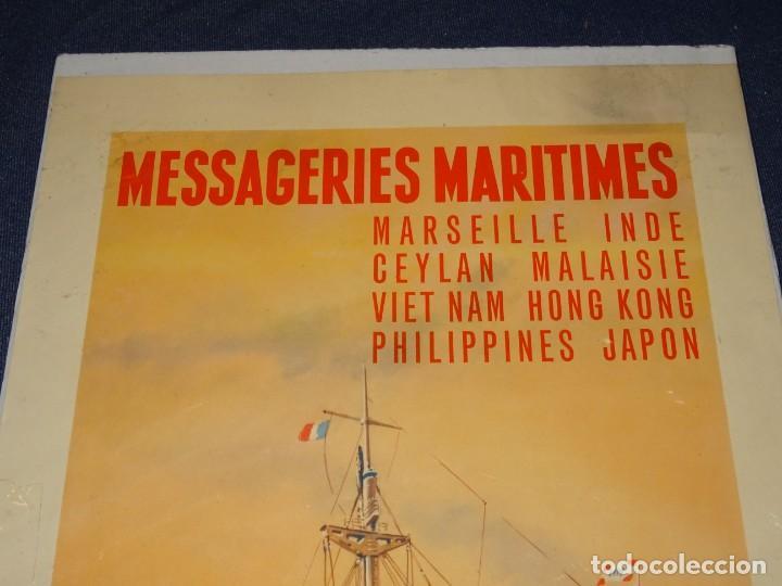 Carteles de Transportes: CARTEL NAVIERAS ( BARCOS ) MESSAGERIES MARITIMES , PHILIPPINES, JAPON, INDE, MARSEILLE, HONG KONG - Foto 2 - 263923075