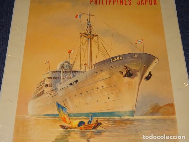 Carteles de Transportes: CARTEL NAVIERAS ( BARCOS ) MESSAGERIES MARITIMES , PHILIPPINES, JAPON, INDE, MARSEILLE, HONG KONG - Foto 3 - 263923075