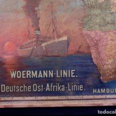 Carteles de Transportes: WOERMANN-LINE DEUSTSCHE OST-AT AFRIKA LINIE. AMBURG 1902. Lote 267082399