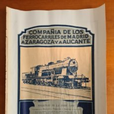 Carteles de Transportes: ANTIGUA LÁMINA CÍA FERROCARRILES MADRID ZARAGOZA ALICANTE MZA TREN MAQUINISTA TERRESTRE MARÍTIMA. Lote 267664829
