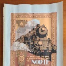 Carteles de Transportes: ANTIGUA LÁMINA CÍA DE LOS CAMINOS DE HIERRO DEL NORTE DE ESPAÑA - FERROCARRILES TREN LOCOMOTORA. Lote 267664834