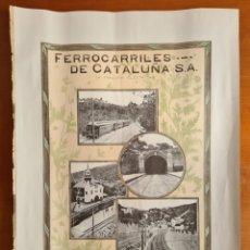 Carteles de Transportes: FERROCARRILES DE CATALUÑA SA (A TRACCIÓN ELÉCTRICA) - TREN - CÍA RIEGOS Y FUERZA DEL EBRO ELÉCTRICA. Lote 267711099