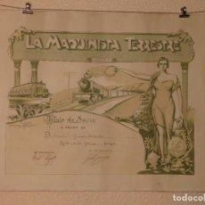 Carteles de Transportes: LEON FERROCARRILES ESPAÑA - LA MAQUINISTA TERRESTRE TITULO DE SOCIO 1943 - ARTES GRAFICAS (SA) GIJON. Lote 270145428