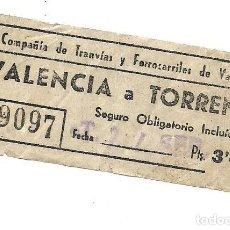 Affiches de Transports: BILLETE DE TRANVIA CAPICUA EL QUE VES VALENCIA TORRENTE. Lote 286351828