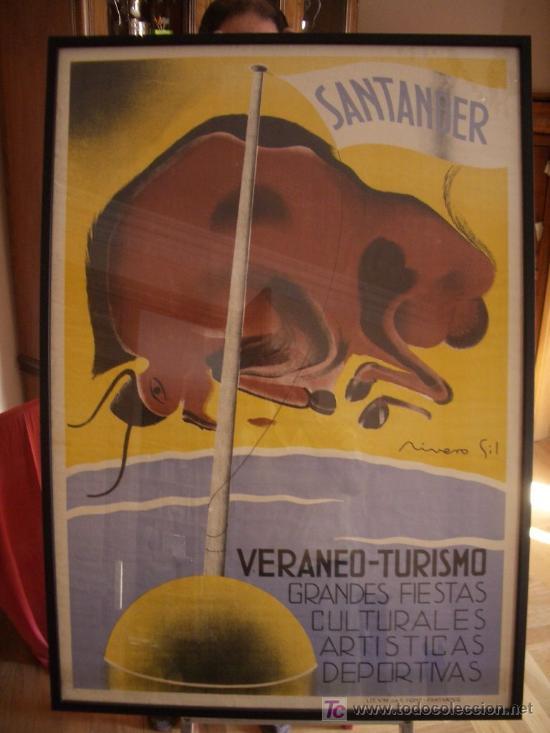 CARTEL TURISMO SANTANDER, ORIGINAL, GRAN FORMATO. AÑOS 20-30. (Coleccionismo - Carteles Gran Formato - Carteles Turismo)