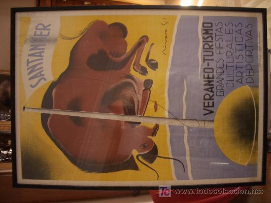 Carteles de Turismo: Cartel turismo SANTANDER, original, gran formato. Años 20-30. - Foto 2 - 27115217