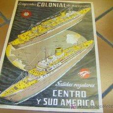 Carteles de Turismo: CARTEL DE NAVEGACION PORTUGAL - COMPANHIA COLONIAL DE NAVEGAÇAO - CCN - SHIPS - VIGO EMIGRACION. Lote 128857160