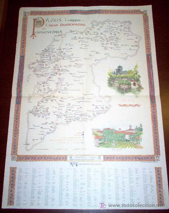 POSTER DE PAZOS, TORRES E CASAS BRASONADAS DE PONTEVEDRA - 48 X 68 CM. (Coleccionismo - Carteles Gran Formato - Carteles Turismo)