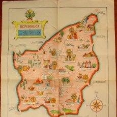 Carteles de Turismo: CARTEL REPUBBLICA DI SAN MARINO. MAPA Y LEYENDA EN EL MARGEN INFERIOR. . AÑOS 40. . Lote 26923804
