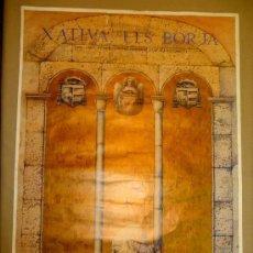 Carteles de Turismo: CARTEL, M. BOIX, XATIVA, ELS BORJA, 1492 - 1992, V CENTENARI DEL PONTIFICAT D' ALEXANDRE VI. Lote 22635893