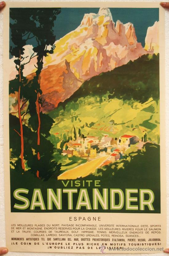 CARTEL TURISMO VISITE SANTANDER , ORIGINAL, (Coleccionismo - Carteles Gran Formato - Carteles Turismo)