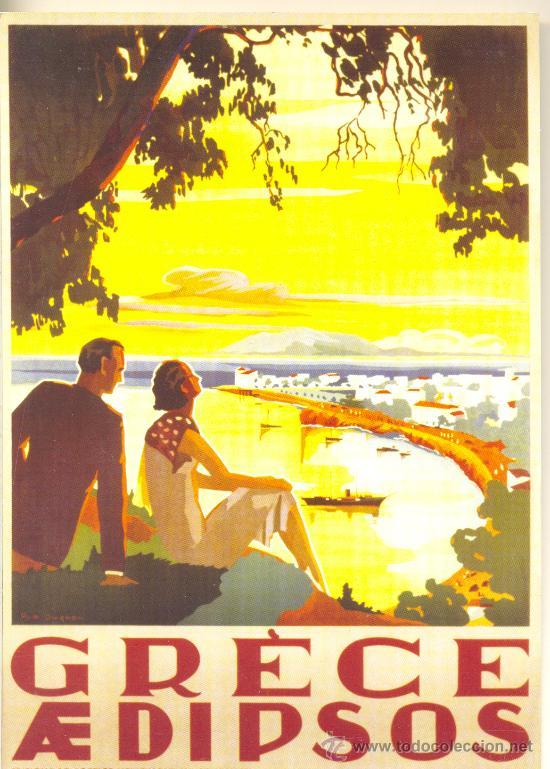 CARTEL DE TURISMO GRIEGO (Coleccionismo - Carteles Gran Formato - Carteles Turismo)