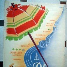 Carteles de Turismo: CARTEL TURISMO , PLAYAS DE CASTELLON ,JUNTA CENTRAL TURISMO, LITOGRAFIA, ILUSTRADOR MORA ,ORIGINAL. Lote 29321959