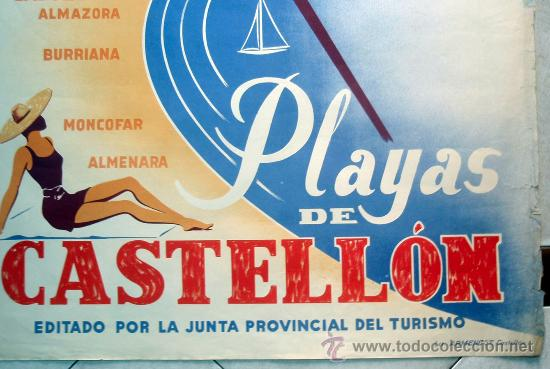 Carteles de Turismo: CARTEL TURISMO , PLAYAS DE CASTELLON ,JUNTA CENTRAL TURISMO, LITOGRAFIA, ILUSTRADOR MORA ,ORIGINAL - Foto 3 - 29321959