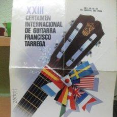 Affissi di Turismo: + BENICASIM CASTELLON CARTEL CERTAMEN GUITARRA FRANCISCO TARREGA 1989 - 34 X 49 CM. Lote 32291300