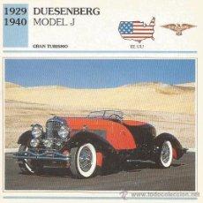 Carteles de Turismo: *** FT04 - FICHA TECNICA - DUESENBERG MODEL J - 1929 / 1940 - GRAN TURISMO - EE. UU.. Lote 33692769