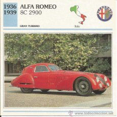 Carteles de Turismo: *** FT09 - FICHA TECNICA - ALFA ROMEO - 1936 / 1939 - GRAN TURISMO - ITALIA. Lote 33692864