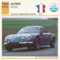 Carteles de Turismo: *** FT17 - FICHA TECNICA - ALPINE A110 - 1963 / 1971 - COCHE DE CARRERAS / GRAN TURISMO - FRANCIA. Lote 33692906