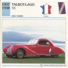 Carteles de Turismo: *** FT20 - FICHA TECNICA - TALBOT-LAGO SS - 1937 / 1938 - GRAN TURISMO - FRANCIA. Lote 33692997