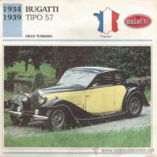 Carteles de Turismo: *** FT24 - FICHA TECNICA - BUGATTI TIPO 57 - 1934 / 1939 - GRAN TURISMO - FRANCIA. Lote 33693040