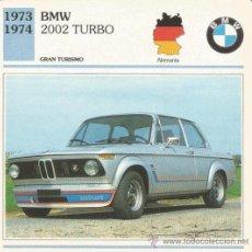 Carteles de Turismo: *** FT35 - FICHA TECNICA - BMW 2002 TURBO - 1973 / 1974 - GRAN TURISMO - ALEMANIA. Lote 33693205