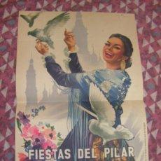 Carteles de Turismo: + ZARAGOZA. ANTIGUO CARTEL FIESTAS DEL PILAR AÑO 1959 MEDIDAS 31 X 48 CM ORIGINAL. Lote 35922433