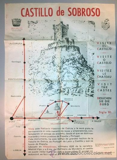 CARTEL TURISMO AÑOS 60 VILLASOBROSO - PONTEVEDRA - 500 X 700 MM - RARISIMO (Coleccionismo - Carteles Gran Formato - Carteles Turismo)