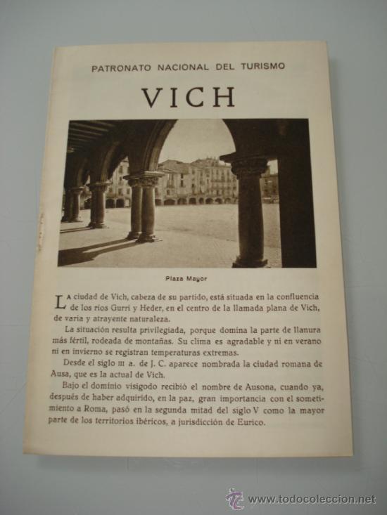 ANTIGUO FOLLETO DE ** VICH ** DEL PATRONATO NACIONAL DE TURISMO DEL AÑO 1920-30S (Coleccionismo - Carteles Gran Formato - Carteles Turismo)