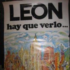 Carteles de Turismo: CARTEL LEON HAY QUE VERLO... PATRONATO TURISMO Y DEPORTE 1984.. Lote 41420429