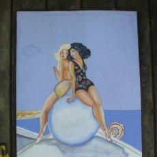 Carteles de Turismo: PRECIOSO CARTEL PINTADO SOBRE MADERA ANTIGUO MONTECARLO IDEAL VINTAGE. Lote 45144267