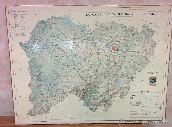 MAPA ENMARCADO DE LA PROVINCIA DE SALAMANCA, ED. DIPUTACION DE SA. AÑO 1981 (Coleccionismo - Carteles Gran Formato - Carteles Turismo)
