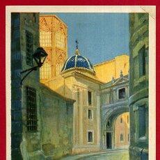 Carteles de Turismo: PEQUEÑO CARTEL TURISMO , VALENCIA , UNA CALLE DE LA CIUDAD VIEJA , MORENO GIMENO , ORIGINAL . Lote 49978994