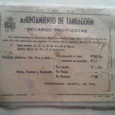 Carteles de Turismo: AYUNTAMIENTO DE TARRAGONA - RECARGO PRO-FIESTAS - SAN MAGIN Y SANTA TECLA AÑO 1961. Lote 52123847