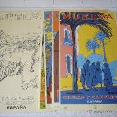 Carteles de Turismo: CARPETA CON CARTELES TURISTICOS HUELVA - OSCAR MARINE/ CHRISTIAN BOYER (AÑOS 90). Lote 53871390