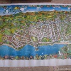 Carteles de Turismo: ANTIGUO CARTEL, DE TURISMO, MAPA DE NERJA (VERANO AZUL) 100X70 CM.. Lote 60015155