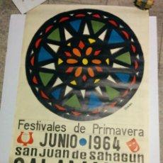 Carteles de Turismo: CARTEL DE SALAMANCA, 1964, 70 * 100, DISEÑO DE HORNA, SAN JUAN DE SAHAGUN. Lote 81245804